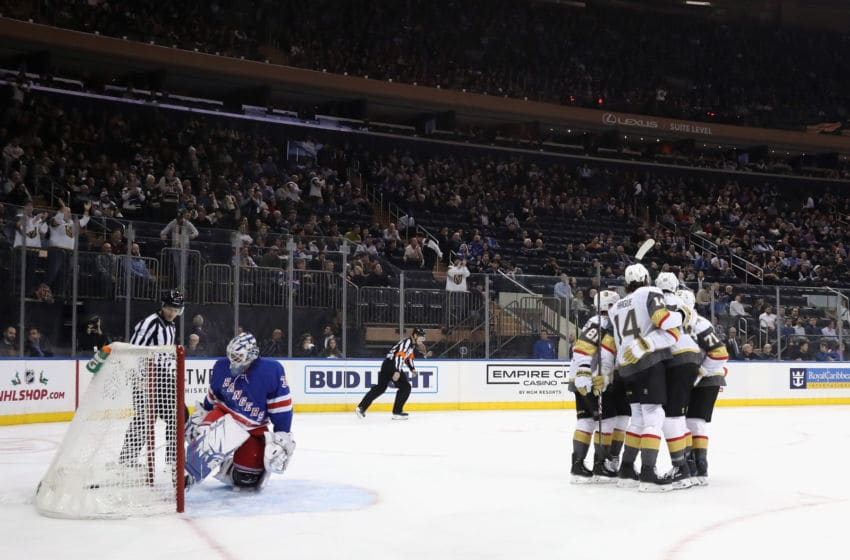 NEW YORK, NEW YORK - DECEMBER 02: The Vegas Golden Knights celebrate a power-play goal by Alex Tuch #89 at 3:50 of the first period against Henrik Lundqvist #30 of the New York Rangers at Madison Square Garden on December 02, 2019 in New York City. (Photo by Bruce Bennett/Getty Images)