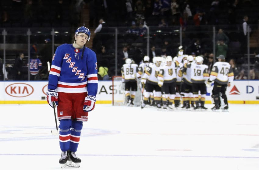 NEW YORK, NEW YORK - DECEMBER 02: Kaapo Kakko #24 of the New York Rangers leaves the ice following a 4-1 loss to the Vegas Golden Knights at Madison Square Garden on December 02, 2019 in New York City. (Photo by Bruce Bennett/Getty Images)