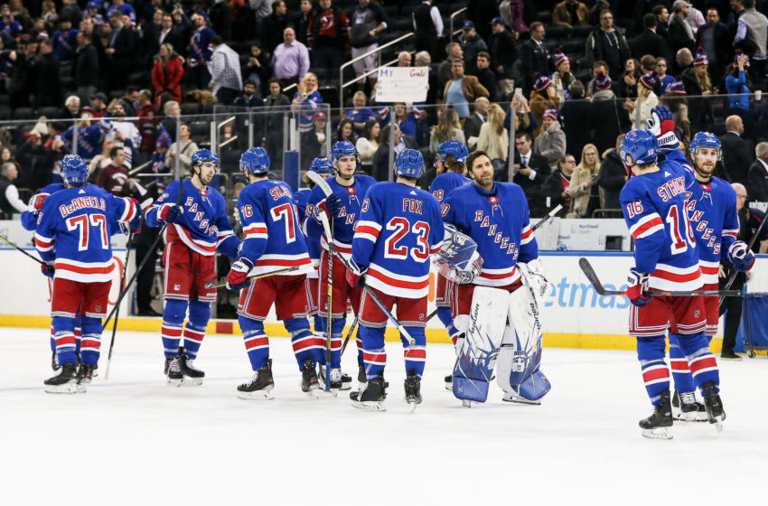 NEW YORK, NY - JANUARY 09: The New York Rangers celebrate their victory in the National Hockey League game between the New Jersey Devils and the New York Rangers on January 9, 2020 at Madison Square Garden in New York, NY. (Photo by Joshua Sarner/Icon Sportswire via Getty Images)