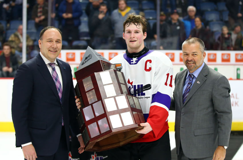 Alexis Lafreniere #11 of Team White is presented with the winners trophy following the final whistle of the 2020 CHL/NHL Top Prospects Game against Team Red. (Photo by Vaughn Ridley/Getty Images)
