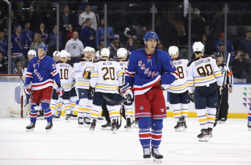 NEW YORK, NEW YORK - FEBRUARY 07: Ryan Strome #16 of the New York Rangers leaves the ice following a 3-2 loss to the Buffalo Sabres at Madison Square Garden on February 07, 2020 in New York City. (Photo by Bruce Bennett/Getty Images)