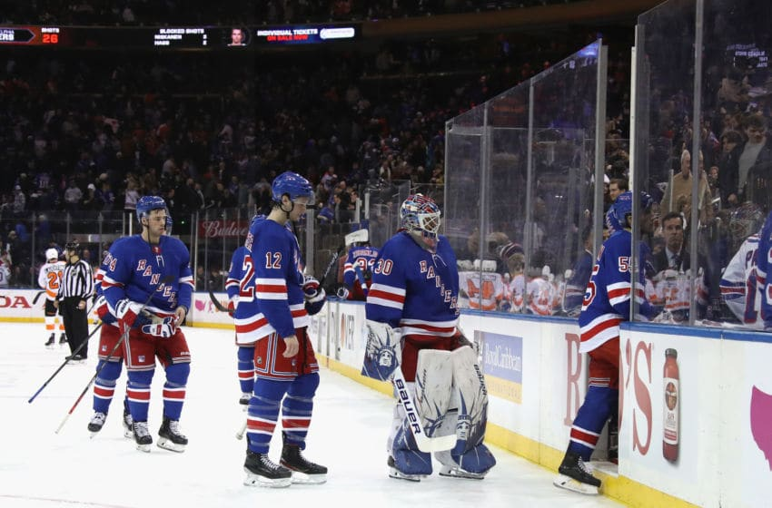 The New York Rangers leave the ice (Photo by Bruce Bennett/Getty Images)