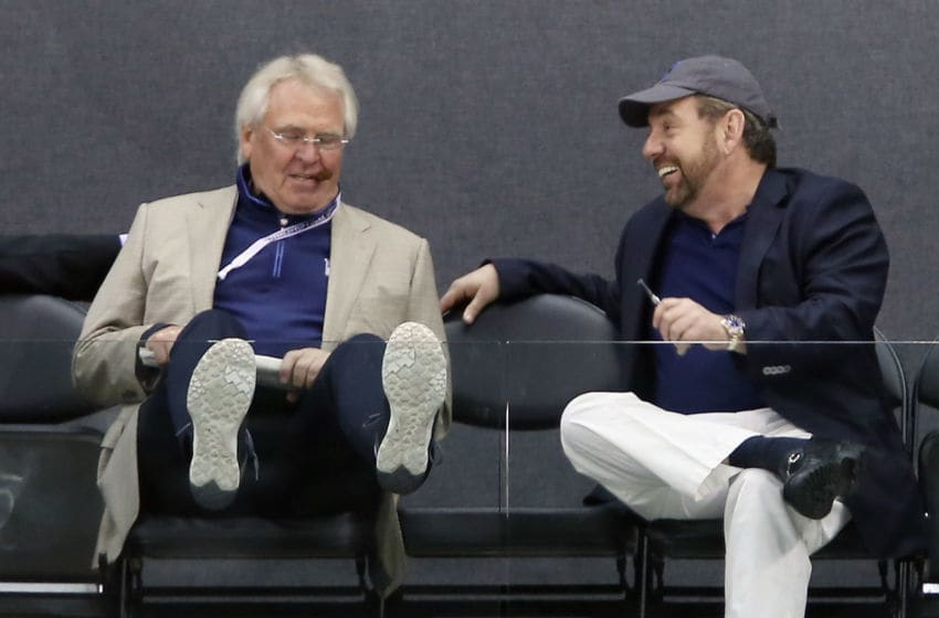 Glen Sather and James Dolan (Photo by Bruce Bennett/Getty Images)