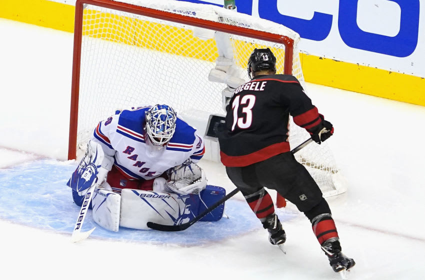 Henrik Lundqvist #30 of the New York Rangers makes the second period savea(Photo by Andre Ringuette/Getty Images)