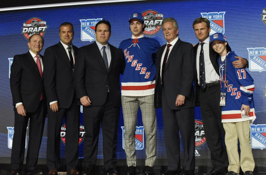 June 23, 2017; Chicago, IL, USA; Filip Chytil poses for photos after being selected as the number twenty-one overall pick to the New York Rangers in the first round of the 2017 NHL Draft at the United Center. Mandatory Credit: David Banks-USA TODAY Sports