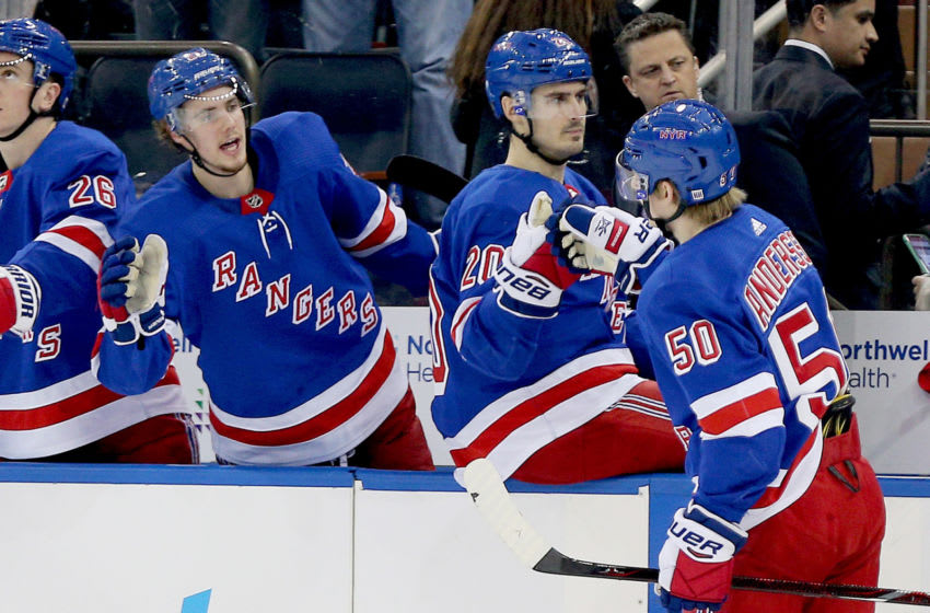 Apr 3, 2019; New York, NY, USA; New York Rangers center Lias Andersson (50) is congratulated after scoring a goal against the Ottawa Senators during the second period at Madison Square Garden. Mandatory Credit: Andy Marlin-USA TODAY Sports