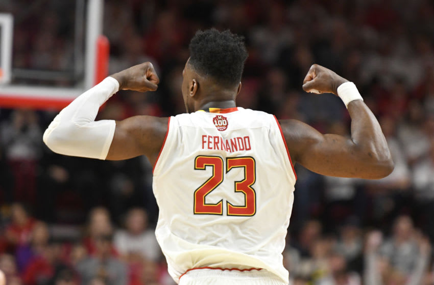 COLLEGE PARK, MD - FEBRUARY 23: Bruno Fernando #23 of the Maryland Terrapins celebrates a shot during a college basketball game against the Ohio State Buckeyes at the XFinity Center on February 23, 2019 in College Park, Maryland. (Photo by Mitchell Layton/Getty Images)