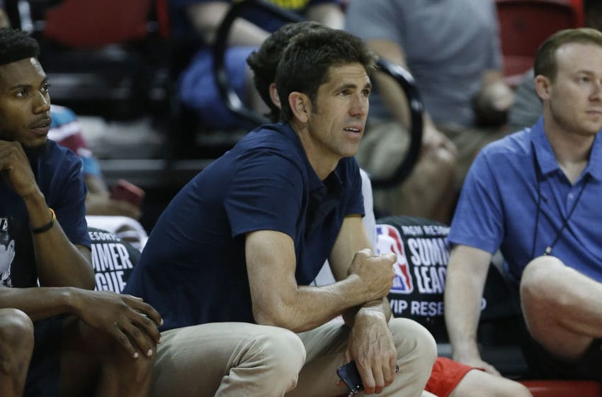 LAS VEGAS, NEVADA - JULY 08: General manager Bob Myers of the Golden State Warriors looks on courtside during the game between the Golden State Warriors and the Los Angeles Clippers during the 2019 NBA Summer League at the Thomas & Mack Center on July 08, 2019 in Las Vegas, Nevada. NOTE TO USER: User expressly acknowledges and agrees that, by downloading and or using this photograph, User is consenting to the terms and conditions of the Getty Images License Agreement. (Photo by Michael Reaves/Getty Images)