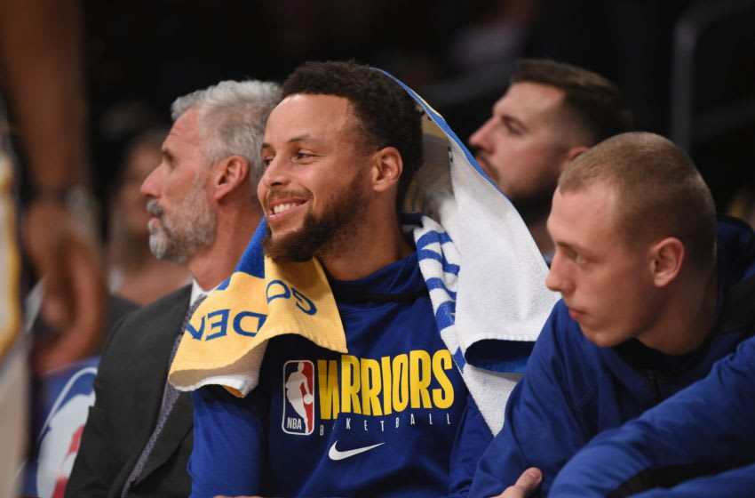 LOS ANGELES, CA - OCTOBER 16: Stephen Curry #30 of the Golden State Warriors smiles during a pre-season game against the Los Angeles Lakers on October 16, 2019 at STAPLES Center in Los Angeles, California. NOTE TO USER: User expressly acknowledges and agrees that, by downloading and/or using this Photograph, user is consenting to the terms and conditions of the Getty Images License Agreement. Mandatory Copyright Notice: Copyright 2019 NBAE (Photo by Adam Pantozzi/NBAE via Getty Images)