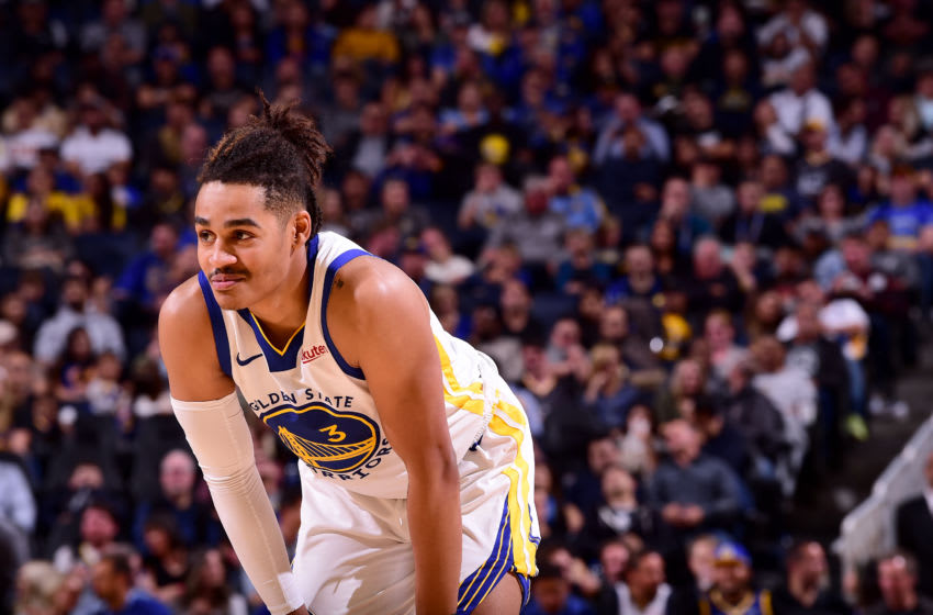 SAN FRANCISCO, CA - OCTOBER 18: Jordan Poole #3 of the Golden State Warriors looks on against the Los Angeles Lakers during a pre-season game on October 18, 2019 at Chase Center in San Francisco, California. NOTE TO USER: User expressly acknowledges and agrees that, by downloading and or using this photograph, User is consenting to the terms and conditions of the Getty Images License Agreement. Mandatory Copyright Notice: Copyright 2019 NBAE (Photo by Noah Graham/NBAE via Getty Images)