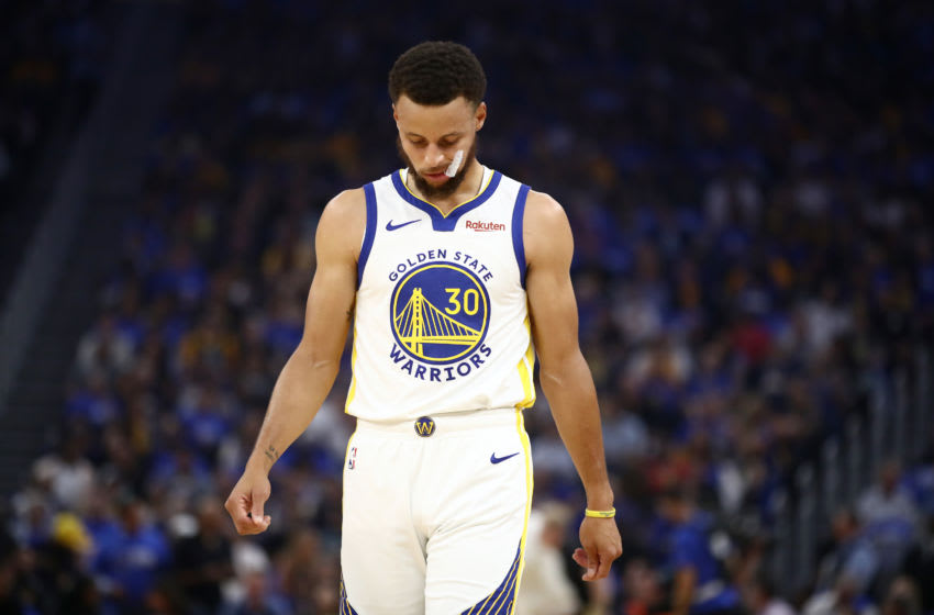 SAN FRANCISCO, CALIFORNIA - OCTOBER 24: Stephen Curry #30 of the Golden State Warriors reacts during their loss to the LA Clippers at Chase Center on October 24, 2019 in San Francisco, California. NOTE TO USER: User expressly acknowledges and agrees that, by downloading and or using this photograph, User is consenting to the terms and conditions of the Getty Images License Agreement. (Photo by Ezra Shaw/Getty Images)