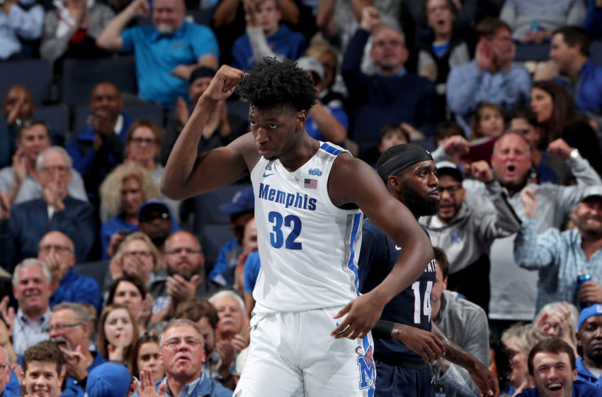 MEMPHIS, TN - NOVEMBER 5: James Wiseman #32 of the Memphis Tigers celebrates against the South Carolina State Bulldogs during a game on November 5, 2019 at FedExForum in Memphis, Tennessee. Memphis defeated South Carolina State 97-64. (Photo by Joe Murphy/Getty Images)