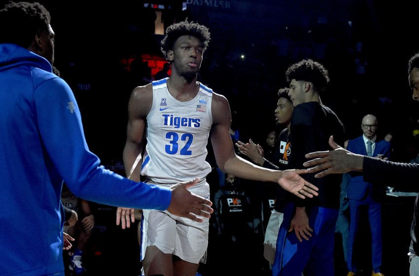 PORTLAND, OREGON - NOVEMBER 12: James Wiseman #32 of the Memphis Tigers is introduced before the game against the Oregon Ducks at Moda Center on November 12, 2019 in Portland, Oregon. Oregon won the game 82-74. (Photo by Steve Dykes/Getty Images)