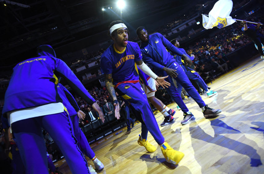 SAN FRANCISCO, CA - DECEMBER 20: D'Angelo Russell #0 of the Golden State Warriors gets introduced before the game against the New Orleans Pelicans on December 20, 2019 at Chase Center in San Francisco, California. NOTE TO USER: User expressly acknowledges and agrees that, by downloading and or using this photograph, user is consenting to the terms and conditions of Getty Images License Agreement. Mandatory Copyright Notice: Copyright 2019 NBAE (Photo by Noah Graham/NBAE via Getty Images)