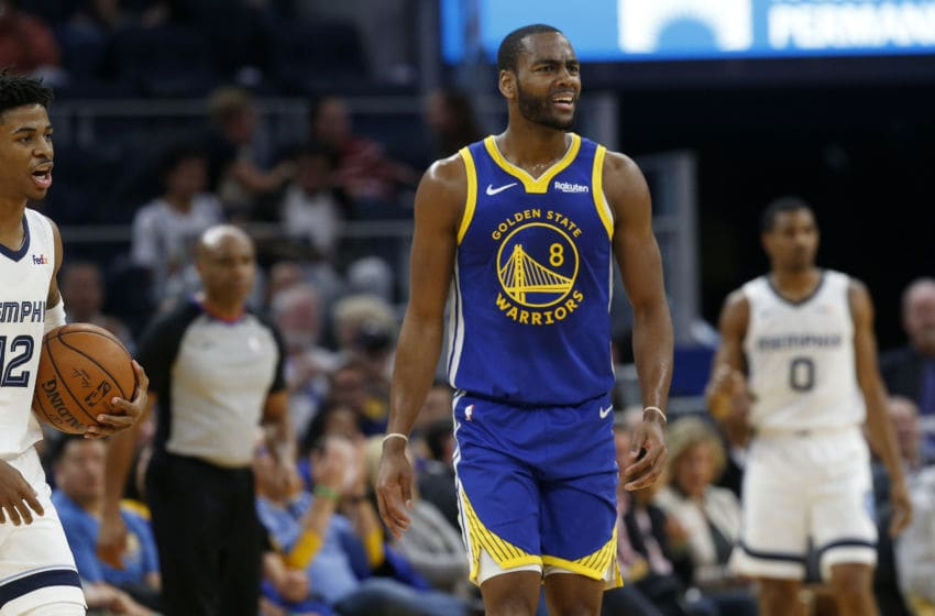 SAN FRANCISCO, CA: DECEMBER 09: Golden State Warriors' Alec Burks #8 reacts after being called for a foul in the second quarter of their NBA game against the Memphis Grizzlies at the Chase Center in San Francisco, Calif., on Monday, Dec. 9, 2019. (Jane Tyska/Digital First Media/The Mercury News via Getty Images)