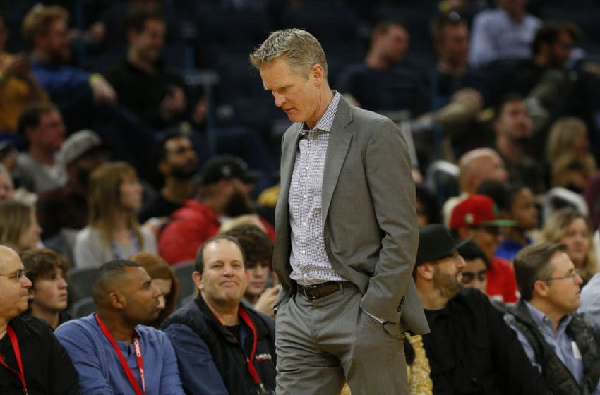 SAN FRANCISCO, CA: DECEMBER 09: Golden State Warriors head coach Steve Kerr walks the sideline in the third quarter of their NBA game against the Memphis Grizzlies at the Chase Center in San Francisco, Calif., on Monday, Dec. 9, 2019. (Jane Tyska/Digital First Media/The Mercury News via Getty Images)