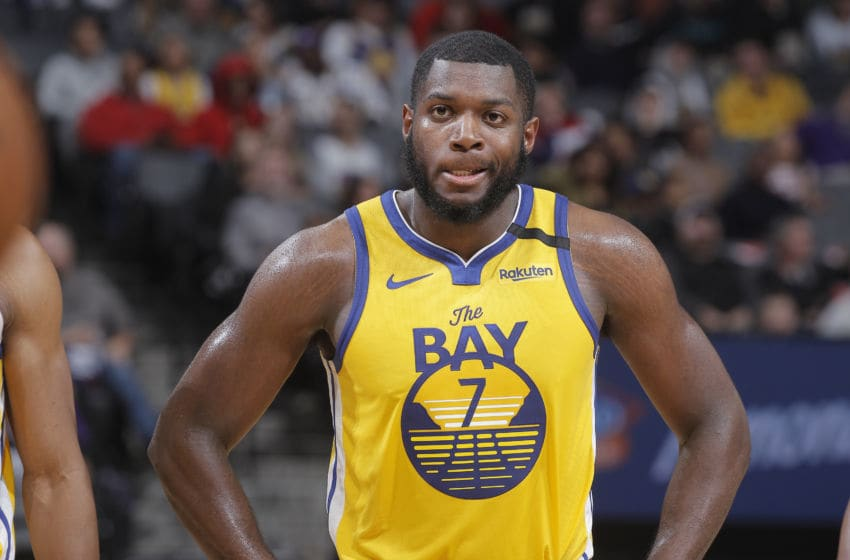 SACRAMENTO, CA - JANUARY 6: Eric Paschall #7 of the Golden State Warriors looks on during the game against the Sacramento Kings on January 6, 2020 at Golden 1 Center in Sacramento, California. NOTE TO USER: User expressly acknowledges and agrees that, by downloading and or using this photograph, User is consenting to the terms and conditions of the Getty Images Agreement. Mandatory Copyright Notice: Copyright 2020 NBAE (Photo by Rocky Widner/NBAE via Getty Images)
