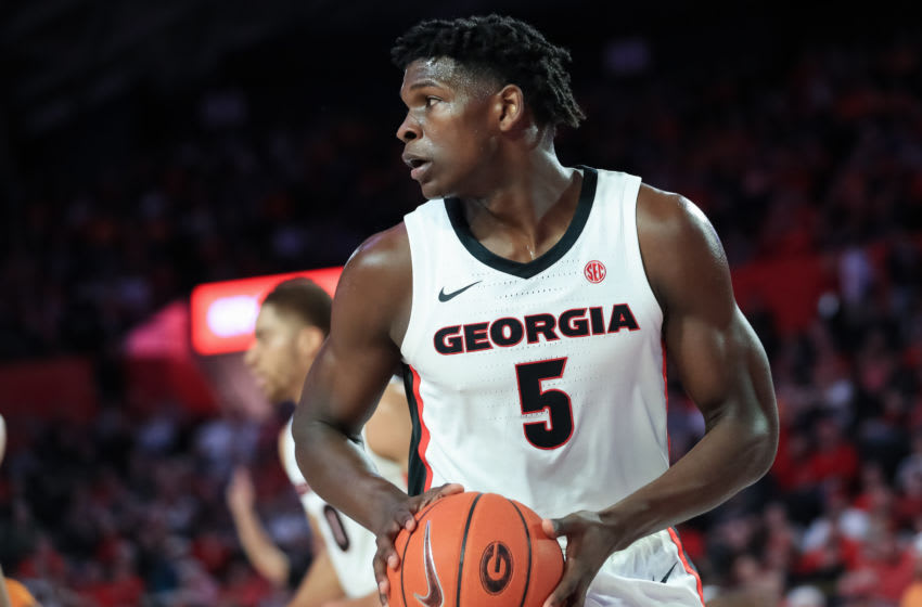 ATHENS, GA - JANUARY 15: Anthony Edwards #5 of the Georgia Bulldogs controls the ball during the first half of a game against the Tennessee Volunteers at Stegeman Coliseum on January 15, 2020 in Athens, Georgia. (Photo by Carmen Mandato/Getty Images)