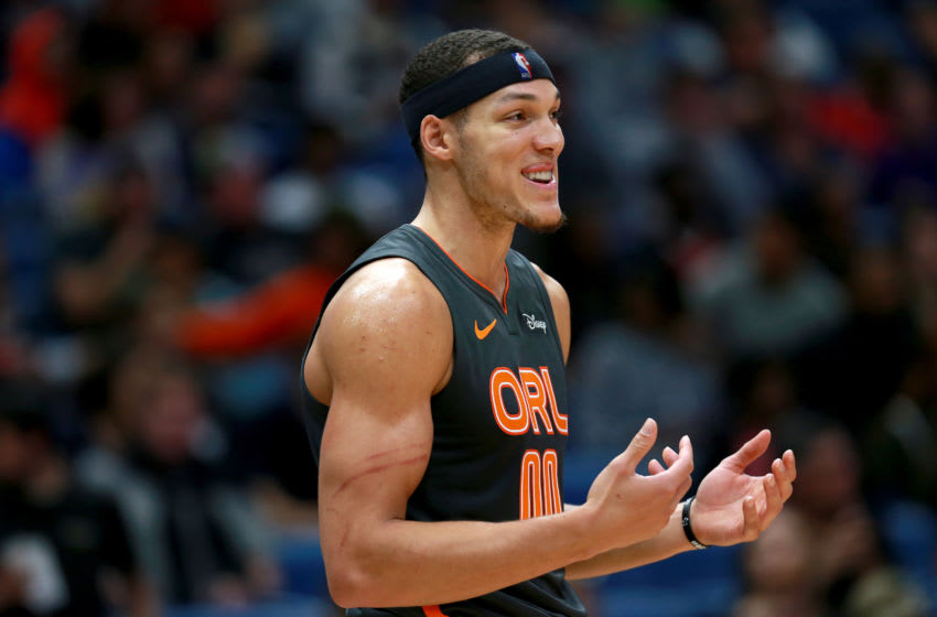 NEW ORLEANS, LOUISIANA - DECEMBER 15: Aaron Gordon #00 of the Orlando Magic stands on the court during a NBA game against the New Orleans Pelicans at Smoothie King Center on December 15, 2019 in New Orleans, Louisiana. NOTE TO USER: User expressly acknowledges and agrees that, by downloading and or using this photograph, User is consenting to the terms and conditions of the Getty Images License Agreement. (Photo by Sean Gardner/Getty Images)