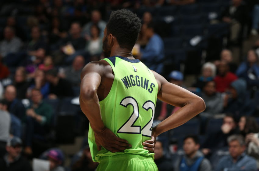 MINNEAPOLIS, MN - JANUARY 18: Andrew Wiggins #22 of the Minnesota Timberwolves looks on during the game against the Toronto Raptors on January 18, 2020 at Target Center in Minneapolis, Minnesota. NOTE TO USER: User expressly acknowledges and agrees that, by downloading and or using this Photograph, user is consenting to the terms and conditions of the Getty Images License Agreement. Mandatory Copyright Notice: Copyright 2020 NBAE (Photo by David Sherman/NBAE via Getty Images)