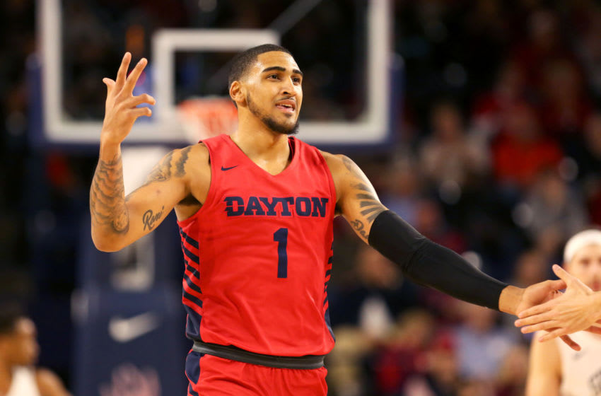 RICHMOND, VA - JANUARY 25: Obi Toppin #1 of the Dayton Flyers celebrates a shot in the first half during a game against the Richmond Spiders at Robins Center on January 25, 2020 in Richmond, Virginia. (Photo by Ryan M. Kelly/Getty Images)