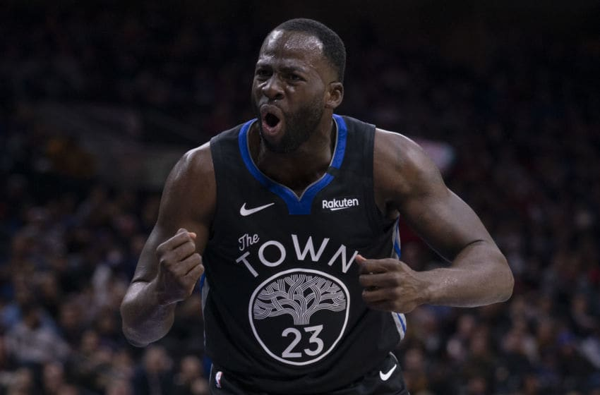 PHILADELPHIA, PA - JANUARY 28: Draymond Green #23 of the Golden State Warriors reacts against the Philadelphia 76ers in the second quarter at the Wells Fargo Center on January 28, 2020 in Philadelphia, Pennsylvania. NOTE TO USER: User expressly acknowledges and agrees that, by downloading and/or using this photograph, user is consenting to the terms and conditions of the Getty Images License Agreement. (Photo by Mitchell Leff/Getty Images)