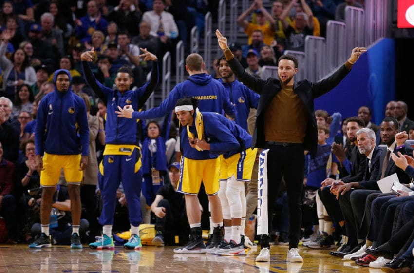 SAN FRANCISCO, CALIFORNIA - DECEMBER 27: Stephen Curry #30 of the Golden State Warriors celebrates after a teammate made a basket in the second half against the Phoenix Suns at Chase Center on December 27, 2019 in San Francisco, California. NOTE TO USER: User expressly acknowledges and agrees that, by downloading and/or using this photograph, user is consenting to the terms and conditions of the Getty Images License Agreement. (Photo by Lachlan Cunningham/Getty Images)