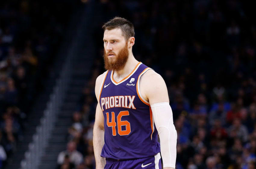 SAN FRANCISCO, CALIFORNIA - DECEMBER 27: Aron Baynes #46 of the Phoenix Suns looks on in the second half against the Golden State Warriors at Chase Center on December 27, 2019 in San Francisco, California. NOTE TO USER: User expressly acknowledges and agrees that, by downloading and/or using this photograph, user is consenting to the terms and conditions of the Getty Images License Agreement. (Photo by Lachlan Cunningham/Getty Images)