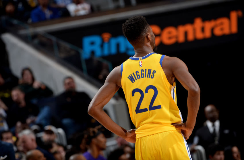 SAN FRANCISCO, CA - FEBRUARY 8: Andrew Wiggins #22 of the Golden State Warriors looks on during a game against the Los Angeles Lakers on February 8, 2020 at Chase Center in San Francisco, California. NOTE TO USER: User expressly acknowledges and agrees that, by downloading and or using this photograph, user is consenting to the terms and conditions of Getty Images License Agreement. Mandatory Copyright Notice: Copyright 2020 NBAE (Photo by Noah Graham/NBAE via Getty Images)