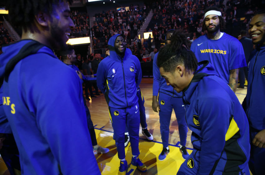 SAN FRANCISCO, CA - JANUARY 22: Golden State Warriors Draymond Green #23 and others laugh as they are introduced before their NBA game against the Utah Jazz at the Chase Center in San Francisco, Calif., on Wednesday, Jan. 22, 2020. (Jane Tyska/Digital First Media/East Bay Times via Getty Images)