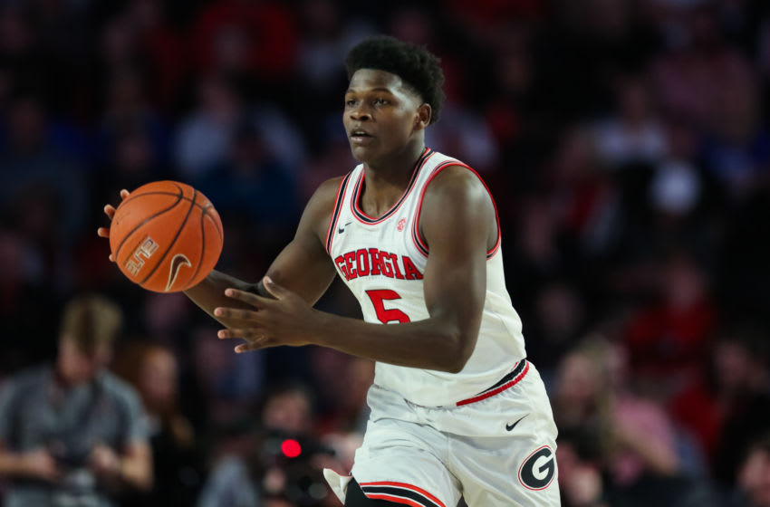 ATHENS, GA - JANUARY 7: Anthony Edwards #5 of the Georgia Bulldogs controls the ball during a game against the Kentucky Wildcats at Stegeman Coliseum on January 7, 2020 in Athens, Georgia. (Photo by Carmen Mandato/Getty Images)