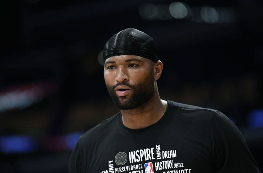 LOS ANGELES, CA - FEBRUARY 21: DeMarcus Cousins #15 of the Los Angeles Lakers works out prior to the start of a basketball game against the Memphis Grizzlies at Staples Center on February 21, 2020 in Los Angeles, California. NOTE TO USER: User expressly acknowledges and agrees that, by downloading and or using this photograph, User is consenting to the terms and conditions of the Getty Images License Agreement. (Photo by Kevork Djansezian/Getty Images)