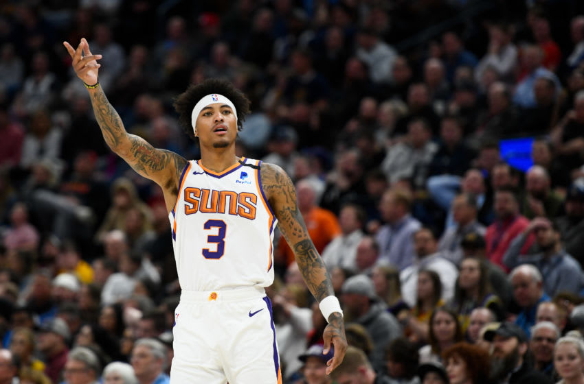 SALT LAKE CITY, UT - FEBRUARY 24: Kelly Oubre Jr. #3 of the Phoenix Suns motions to the crowd against the Utah Jazz at Vivint Smart Home Arena on February 24, 2020 in Salt Lake City, Utah. NOTE TO USER: User expressly acknowledges and agrees that, by downloading and/or using this photograph, user is consenting to the terms and conditions of the Getty Images License Agreement. (Photo by Alex Goodlett/Getty Images)