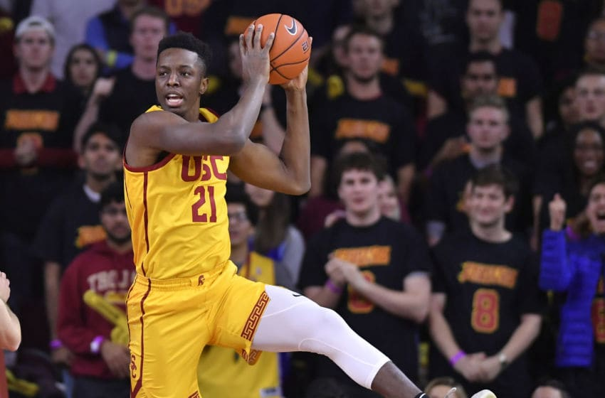 LOS ANGELES, CA - JANUARY 30: Onyeka Okongwu #21 of the USC Trojans plays against the Utah Utes at Galen Center on January 30, 2020 in Los Angeles, California. (Photo by John McCoy/Getty Images)