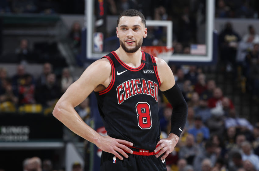 INDIANAPOLIS, IN - JANUARY 29: Zach LaVine #8 of the Chicago Bulls looks on during a game against the Indiana Pacers at Bankers Life Fieldhouse on January 29, 2020 in Indianapolis, Indiana. The Pacers defeated the Bulls 115-106 in overtime. NOTE TO USER: User expressly acknowledges and agrees that, by downloading and or using this Photograph, user is consenting to the terms and conditions of the Getty Images License Agreement. (Photo by Joe Robbins/Getty Images)