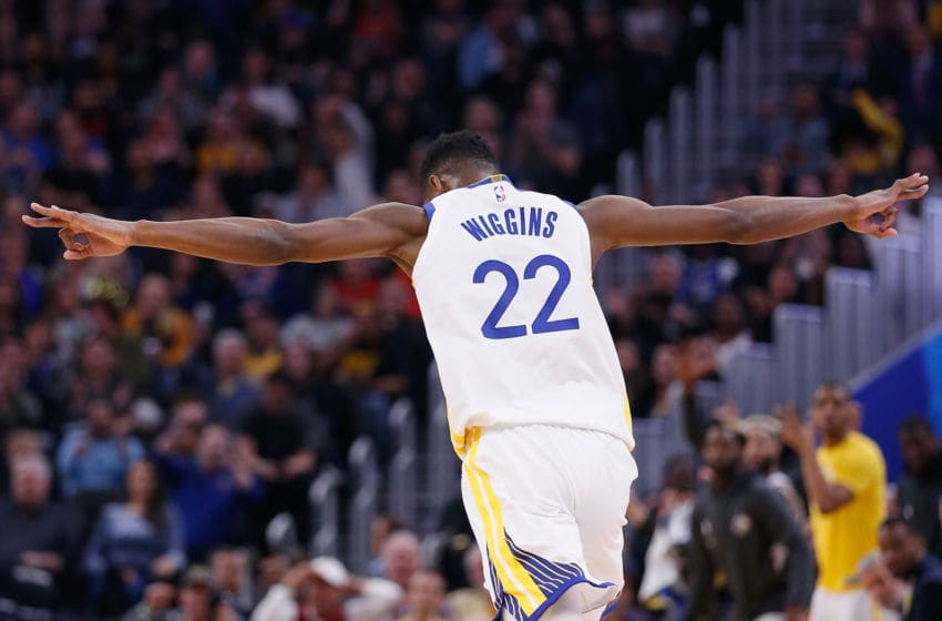 SAN FRANCISCO, CALIFORNIA - FEBRUARY 10: Andrew Wiggins #22 of the Golden State Warriors celebrates after making a three-point shot in the second half against the Miami Heat at Chase Center on February 10, 2020 in San Francisco, California. NOTE TO USER: User expressly acknowledges and agrees that, by downloading and/or using this photograph, user is consenting to the terms and conditions of the Getty Images License Agreement. (Photo by Lachlan Cunningham/Getty Images)