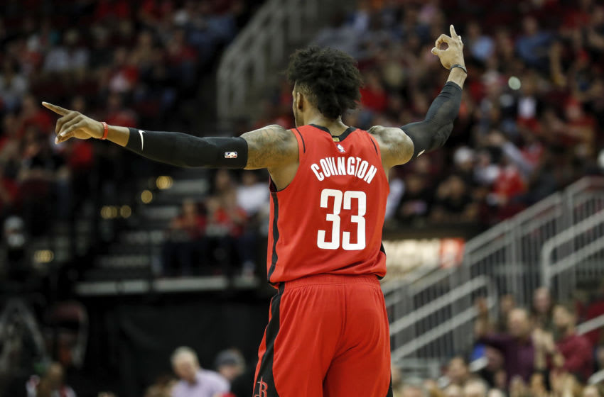 HOUSTON, TEXAS - FEBRUARY 09: Robert Covington #33 of the Houston Rockets celebrates after a three point basket in the first half against the Utah Jazz at Toyota Center on February 09, 2020 in Houston, Texas. NOTE TO USER: User expressly acknowledges and agrees that, by downloading and or using this photograph, User is consenting to the terms and conditions of the Getty Images License Agreement. (Photo by Tim Warner/Getty Images)