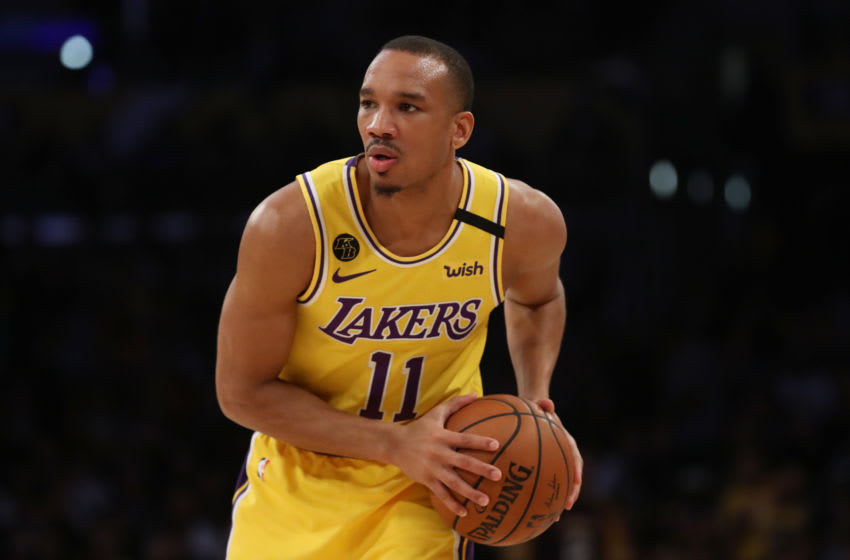 LOS ANGELES, CALIFORNIA - FEBRUARY 25: Avery Bradley #11 of the Los Angeles Lakers looks to pass the ball in a game against the New Orleans Pelicans during the second half at Staples Center on February 25, 2020 in Los Angeles, California. NOTE TO USER: User expressly acknowledges and agrees that, by downloading and or using this Photograph, user is consenting to the terms and conditions of the Getty Images License Agreement. (Photo by Katelyn Mulcahy/Getty Images)