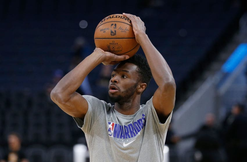 SAN FRANCISCO, CALIFORNIA - FEBRUARY 25: Andrew Wiggins #22 of the Golden State Warriors warms up before the game against the Sacramento Kings at Chase Center on February 25, 2020 in San Francisco, California. NOTE TO USER: User expressly acknowledges and agrees that, by downloading and/or using this photograph, user is consenting to the terms and conditions of the Getty Images License Agreement. (Photo by Lachlan Cunningham/Getty Images)