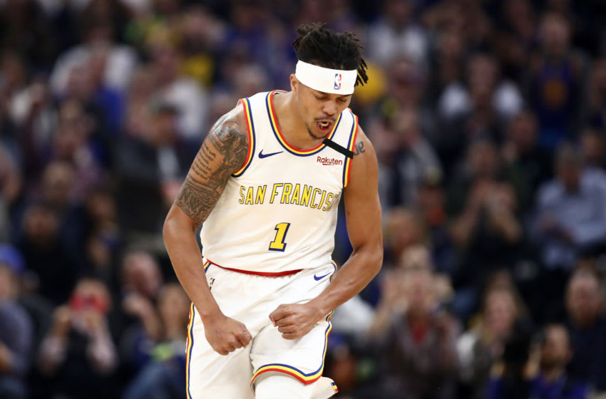 SAN FRANCISCO, CALIFORNIA - MARCH 05: Damion Lee #1 of the Golden State Warriors reacts after making a three-point basket against the Toronto Raptors at Chase Center on March 05, 2020 in San Francisco, California. NOTE TO USER: User expressly acknowledges and agrees that, by downloading and or using this photograph, User is consenting to the terms and conditions of the Getty Images License Agreement. (Photo by Ezra Shaw/Getty Images)