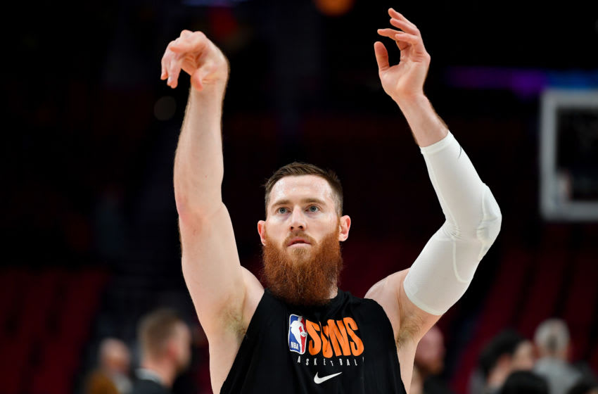 PORTLAND, OREGON - MARCH 10: Aron Baynes #46 of the Phoenix Suns warms up before the game against the Portland Trail Blazers at the Moda Center on March 10, 2020 in Portland, Oregon. NOTE TO USER: User expressly acknowledges and agrees that, by downloading and or using this photograph, User is consenting to the terms and conditions of the Getty Images License Agreement. (Photo by Alika Jenner/Getty Images)