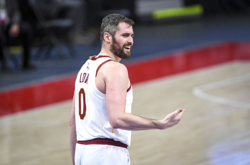 DETROIT, MICHIGAN - APRIL 19: Kevin Love #0 of the Cleveland Cavaliers reacts during the third quarter of the NBA game against the Detroit Pistons at Little Caesars Arena on April 19, 2021 in Detroit, Michigan. NOTE TO USER: User expressly acknowledges and agrees that, by downloading and or using this photograph, User is consenting to the terms and conditions of the Getty Images License Agreement. (Photo by Nic Antaya/Getty Images)