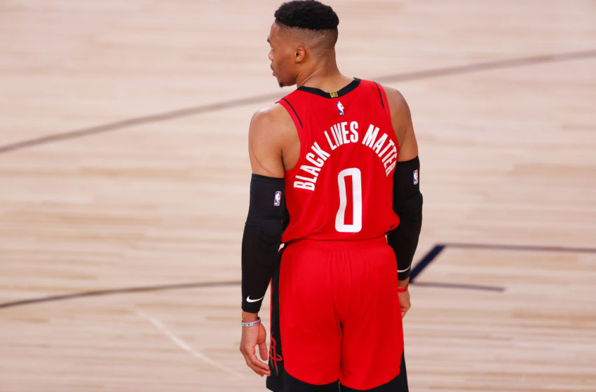LAKE BUENA VISTA, FLORIDA - AUGUST 02: Russell Westbrook #0 of the Houston Rockets wears