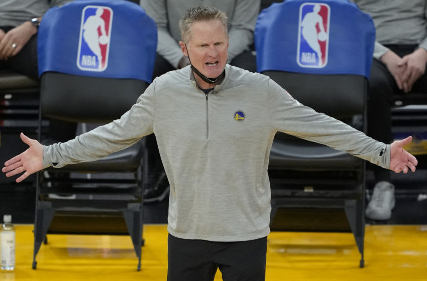SAN FRANCISCO, CALIFORNIA - APRIL 27: Head coach Steve Kerr of the Golden State Warriors reacts to the officiating against the Dallas Mavericks during the second half of an NBA basketball game at Chase Center on April 27, 2021 in San Francisco, California. NOTE TO USER: User expressly acknowledges and agrees that, by downloading and or using this photograph, User is consenting to the terms and conditions of the Getty Images License Agreement. (Photo by Thearon W. Henderson/Getty Images)