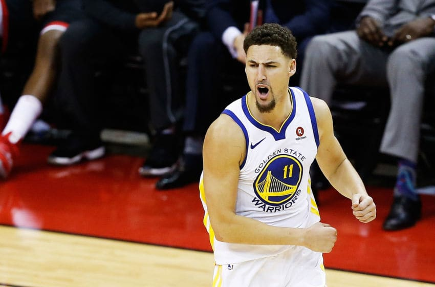 HOUSTON, TX - MAY 28: Klay Thompson #11 of the Golden State Warriors reacts in the fourth quarter of Game Seven of the Western Conference Finals of the 2018 NBA Playoffs against the Houston Rockets at Toyota Center on May 28, 2018 in Houston, Texas. NOTE TO USER: User expressly acknowledges and agrees that, by downloading and or using this photograph, User is consenting to the terms and conditions of the Getty Images License Agreement. (Photo by Bob Levey/Getty Images)