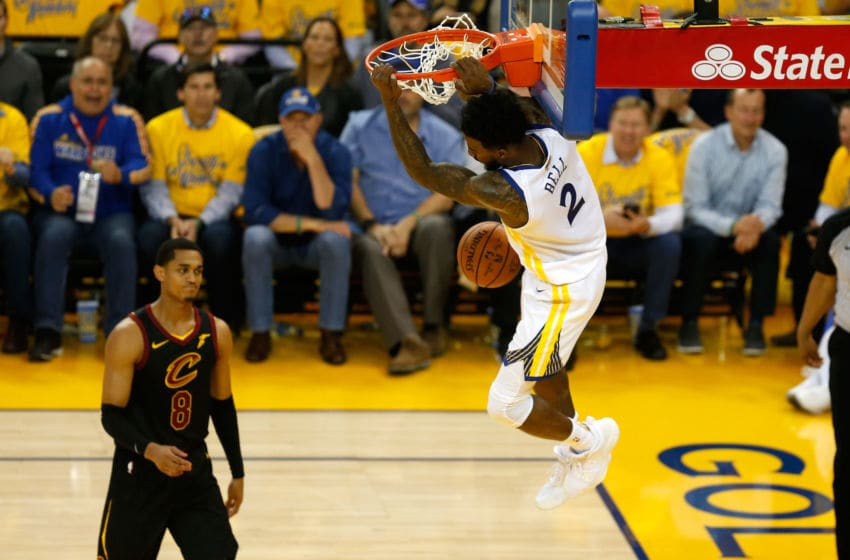 OAKLAND, CA - MAY 31: Jordan Bell #2 of the Golden State Warriors dunks the ball against the Cleveland Cavaliers during the first half in Game 1 of the 2018 NBA Finals at ORACLE Arena on May 31, 2018 in Oakland, California. NOTE TO USER: User expressly acknowledges and agrees that, by downloading and or using this photograph, User is consenting to the terms and conditions of the Getty Images License Agreement. (Photo by Lachlan Cunningham/Getty Images)