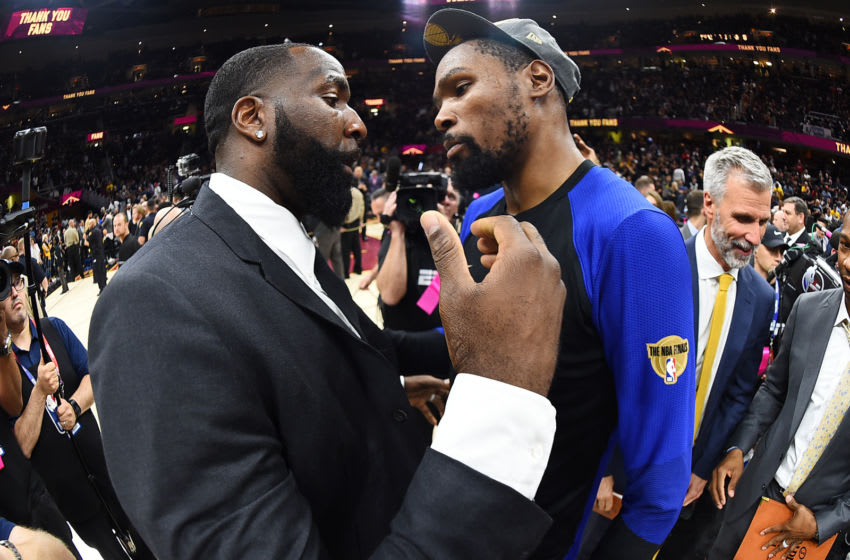 CLEVELAND, OH - JUNE 8: Kevin Durant #35 of the Golden State Warriors and Kendrick Perkins #21 of the Cleveland Cavaliers hug after Game Four of the 2018 NBA Finals on June 8, 2018 at Quicken Loans Arena in Cleveland, Ohio. NOTE TO USER: User expressly acknowledges and agrees that, by downloading and or using this Photograph, user is consenting to the terms and conditions of the Getty Images License Agreement. Mandatory Copyright Notice: Copyright 2018 NBAE (Photo by Andrew D. Bernstein/NBAE via Getty Images)