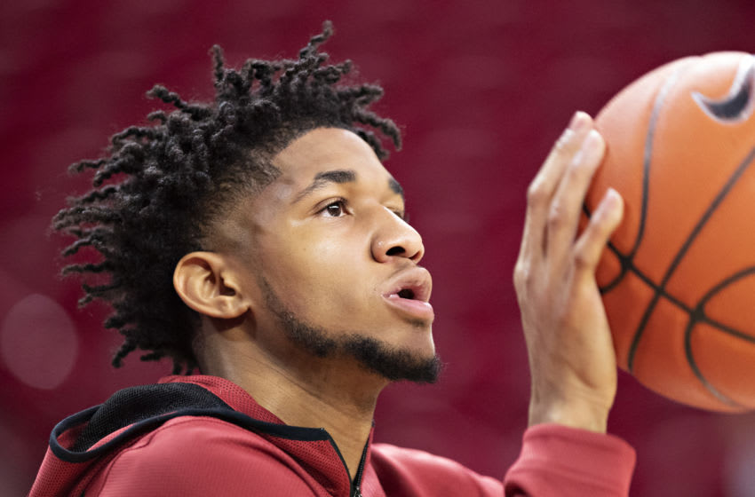 FAYETTEVILLE, AR - FEBRUARY 22: Isaiah Joe #1 of the Arkansas Razorbacks warms up to play before a game against the Missouri Tigers at Bud Walton Arena on February 22, 2020 in Fayetteville, Arkansas. (Photo by Wesley Hitt/Getty Images)