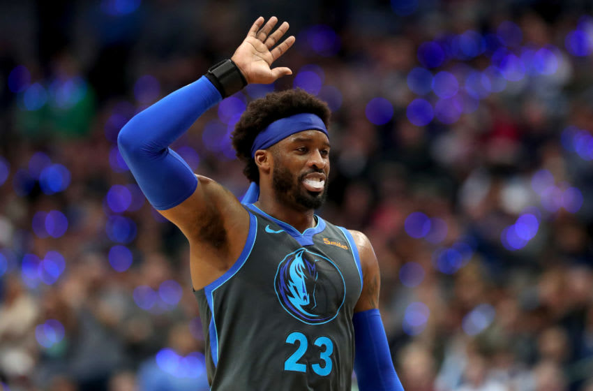 DALLAS, TEXAS - JANUARY 16: Wesley Matthews #23 of the Dallas Mavericks reacts after being called for a foul against the San Antonio Spurs at American Airlines Center on January 16, 2019 in Dallas, Texas. NOTE TO USER: User expressly acknowledges and agrees that, by downloading and or using this photograph, User is consenting to the terms and conditions of the Getty Images License Agreement. (Photo by Tom Pennington/Getty Images)