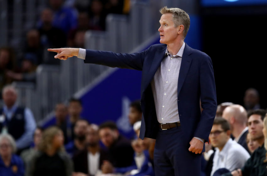 SAN FRANCISCO, CALIFORNIA - OCTOBER 30: Golden State Warriors head coach Steve Kerr watches his team play against the Phoenix Suns at Chase Center on October 30, 2019 in San Francisco, California. NOTE TO USER: User expressly acknowledges and agrees that, by downloading and or using this photograph, User is consenting to the terms and conditions of the Getty Images License Agreement. (Photo by Ezra Shaw/Getty Images)